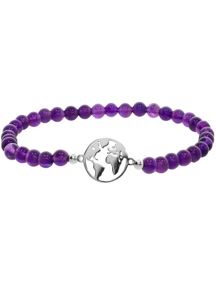 1001 Diamonds Weltkugel Amethyst Armband 925 Silber 17 cm, violett