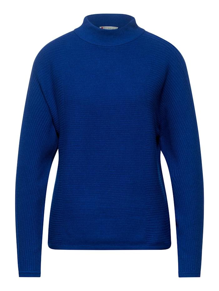 Street One Dolman-Pullover mit Rippe, cobalt blue melange