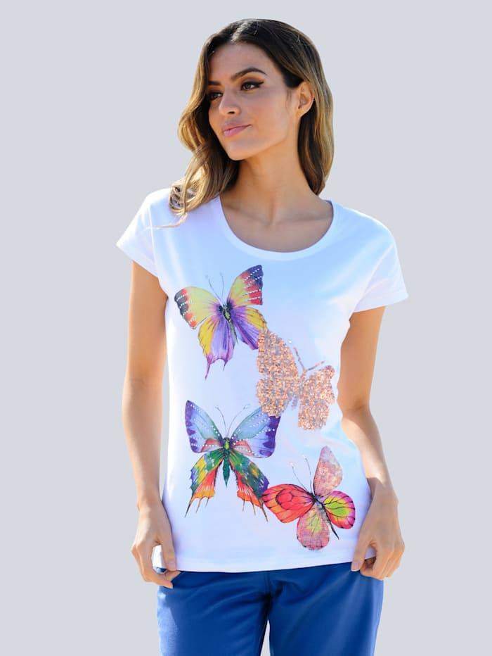 Alba Moda Strandshirt mit Glitzer, Weiß