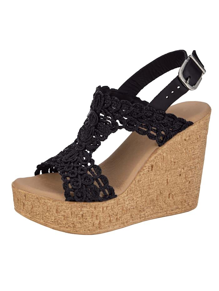 Sandales compensées à effet macramé, Noir