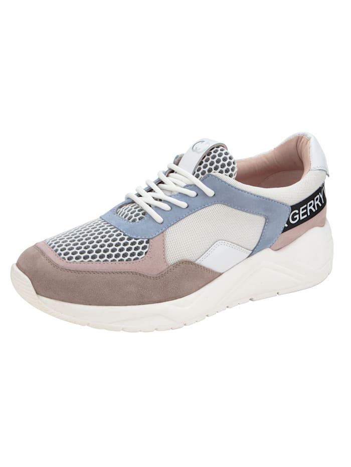 Gerry Weber Sneakers avec empiècements en mesh, Blanc/Bleu ciel
