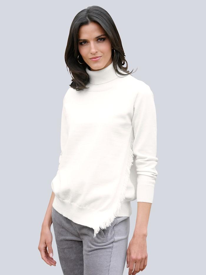 Alba Moda Pullover mit asymetrischem Saum, Off-white