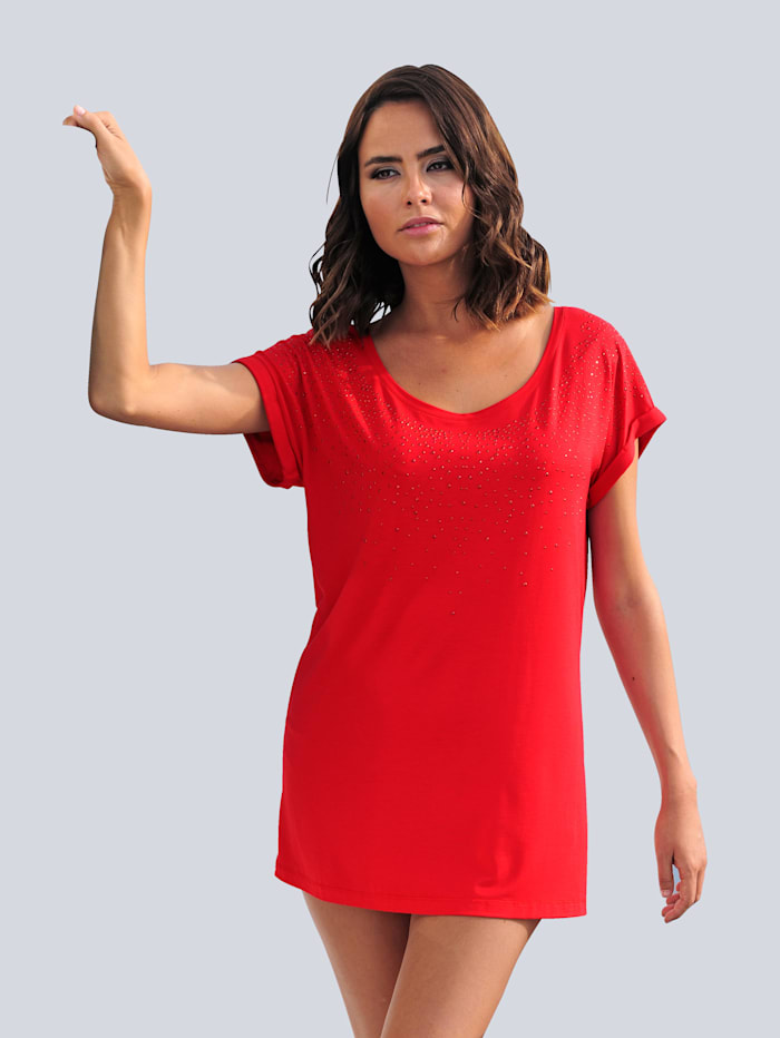 Alba Moda Strandshirt mit Glitzersteinen, Rot