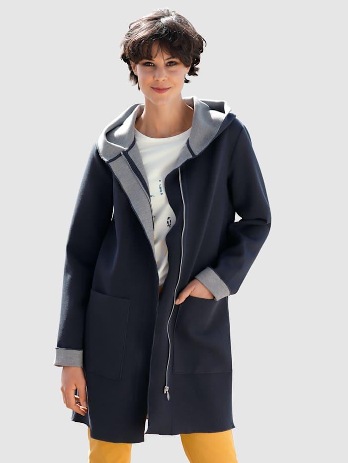 Dress In Mantel in gebondeter Ware, Marineblau