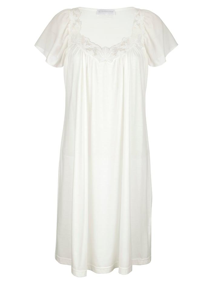 Nachthemd in romantische look, Crème