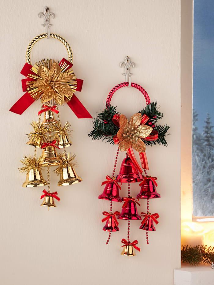 2er Set Wanddeko Tür und Glocke
