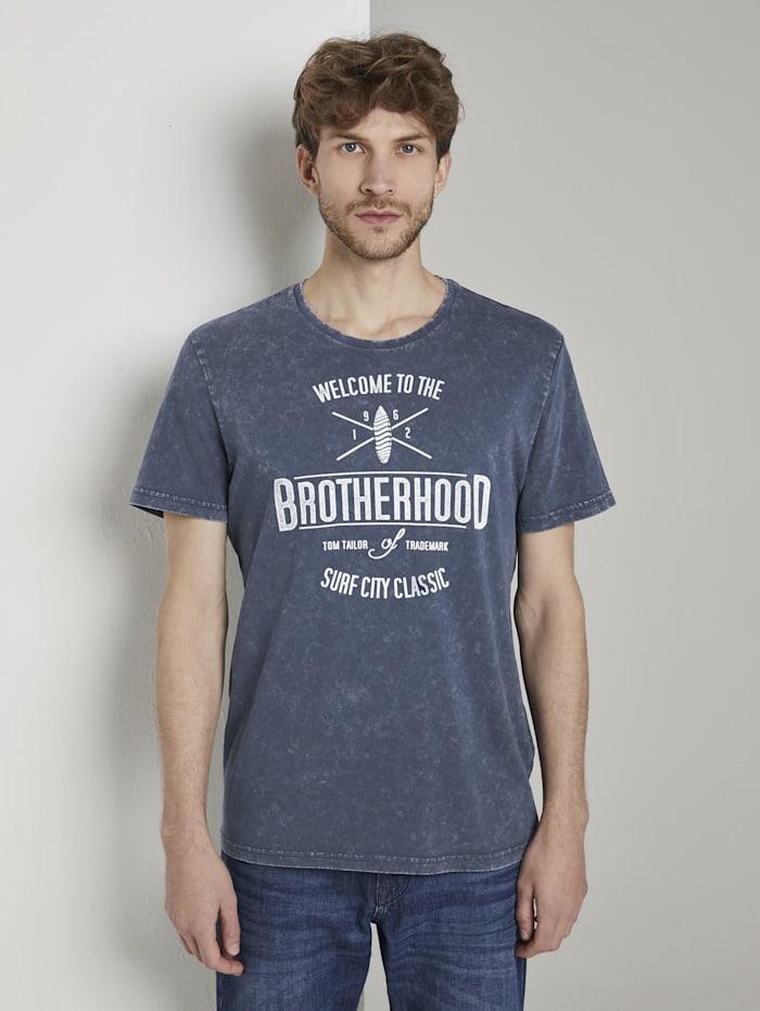 Tom Tailor T-Shirt in Stone-Washed-Optik, Black Iris Blue