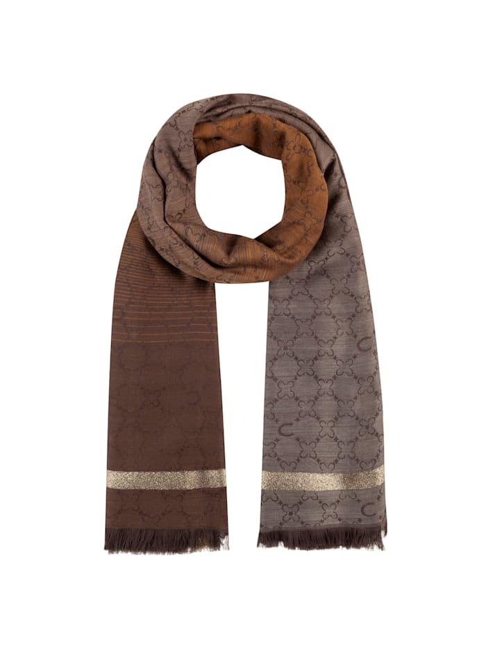 Codello Premium Logo-Schal mit edlen Glanzakzenten, camel