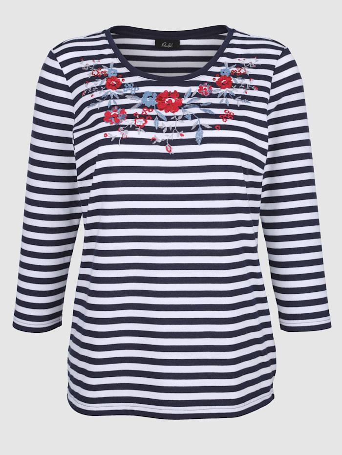 Shirt mit Blütenstickerei am Ausschnitt
