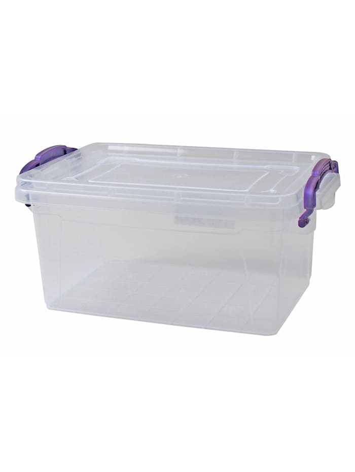 HTI-Living Box mit Deckel 13,7 L Sofia, Transparent, Lila