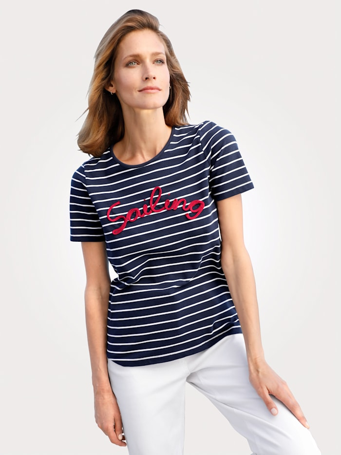 MONA Top with lettering appliqué, Navy/Red/Ivory