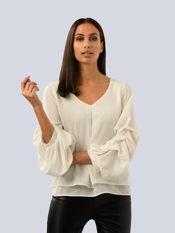 Alba Moda White Bluse mit Volantärmeln, Off-white