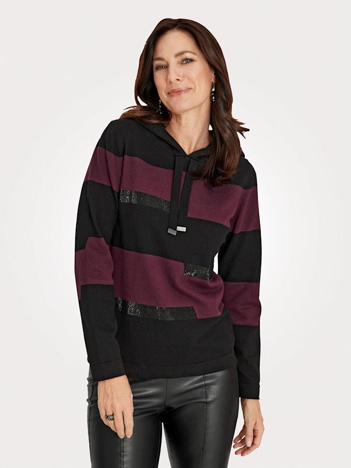 MONA Pull-over à rayures tricotées, Noir/Baies