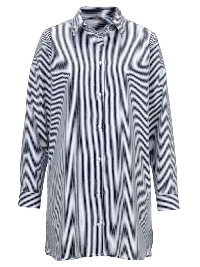 JOOP! Nachthemd mit angesagtem Hemdkragen, jeansblau/weiß