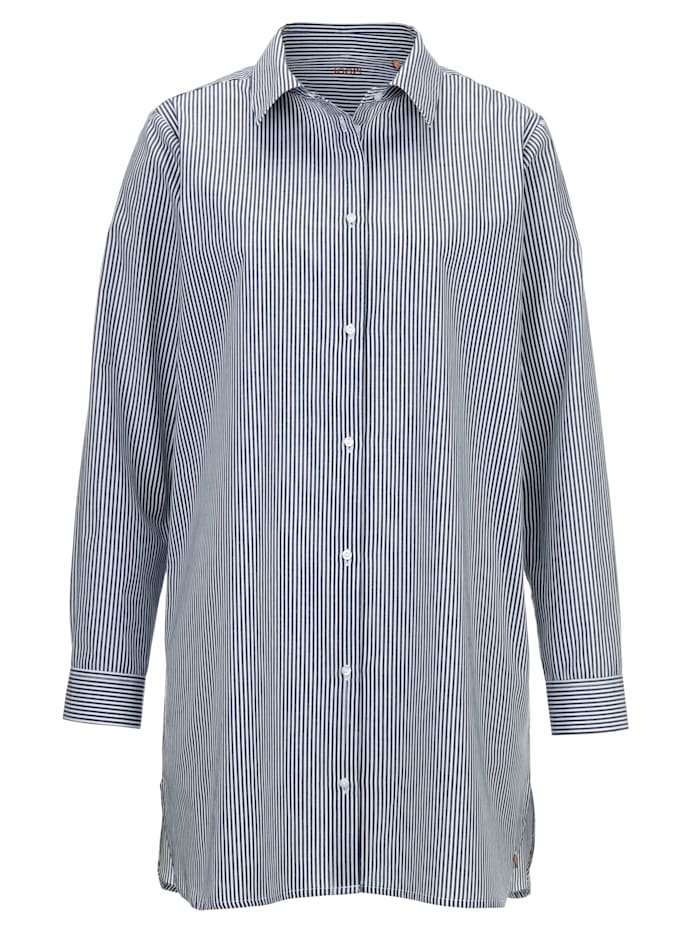 JOOP! Nightshirt with a shirt collar, Blue/White