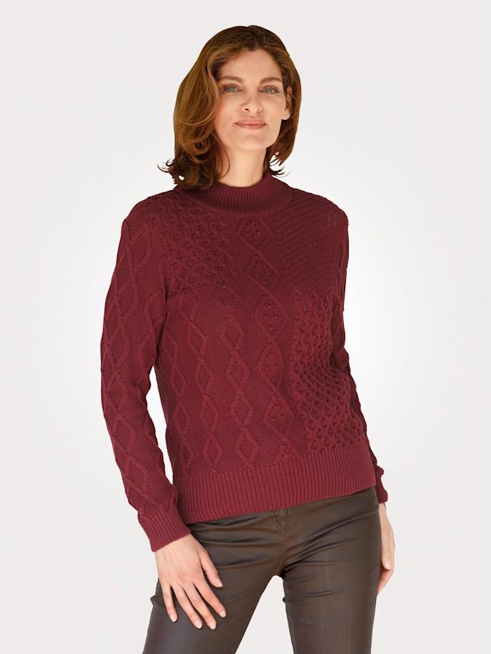 MONA Pullover mit Strukturstrick, Terracotta