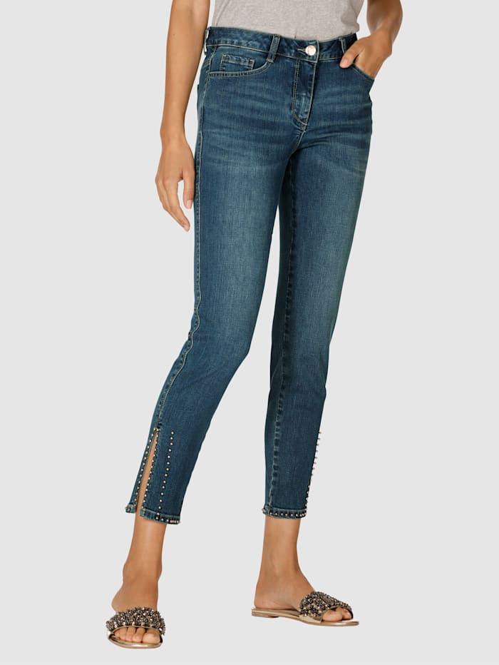 AMY VERMONT Jeans med perlepynt på benkanten, Blue stone