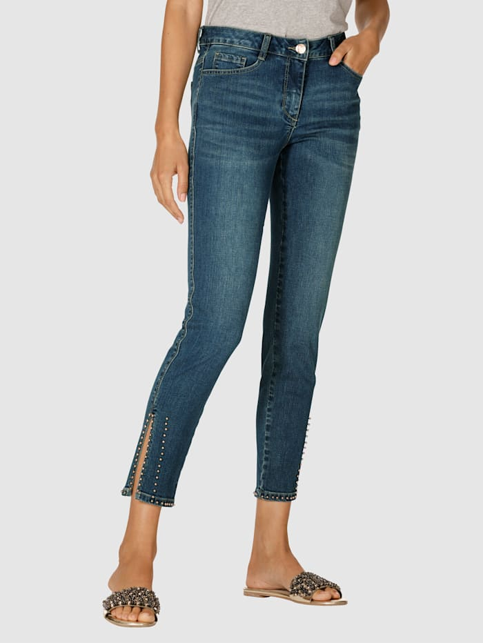 AMY VERMONT Jeans mit Perlendekoration am Saum, Blue stone