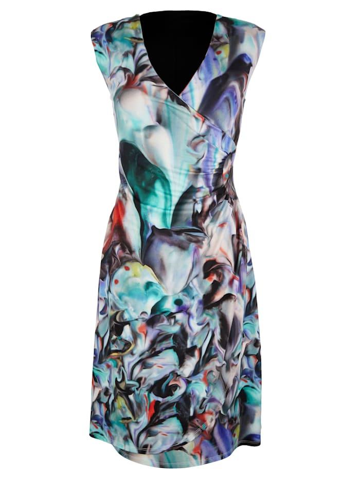 AMY VERMONT Jersey jurk in wikkellook, Blauw/Turquoise/Rood/Zwart