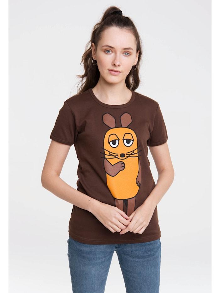 Logoshirt Print T-Shirt Die Sendung mit der Maus mit lizenziertem Design, braun