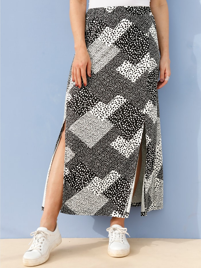 MIAMODA Jupe à motif patchwork tendance, Noir/Blanc