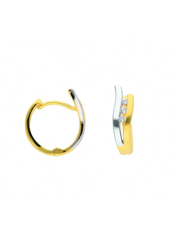 1001 Diamonds Damen Goldschmuck 585 Gold Ohrringe / Creolen mit Zirkonia, gold