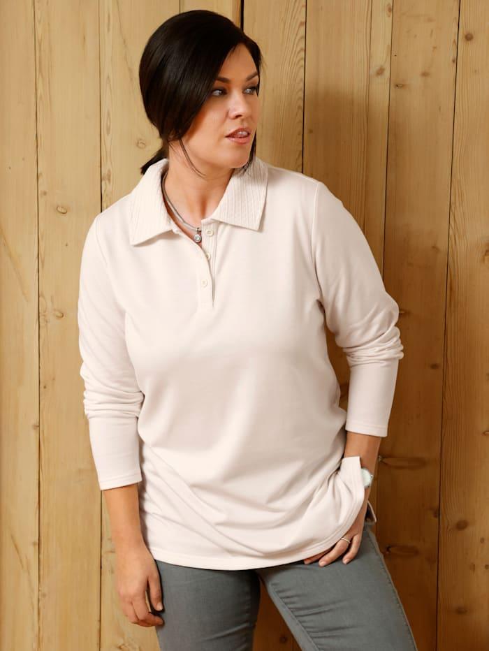m. collection Sweatshirt mit dekorativem Polokragen, Ecru