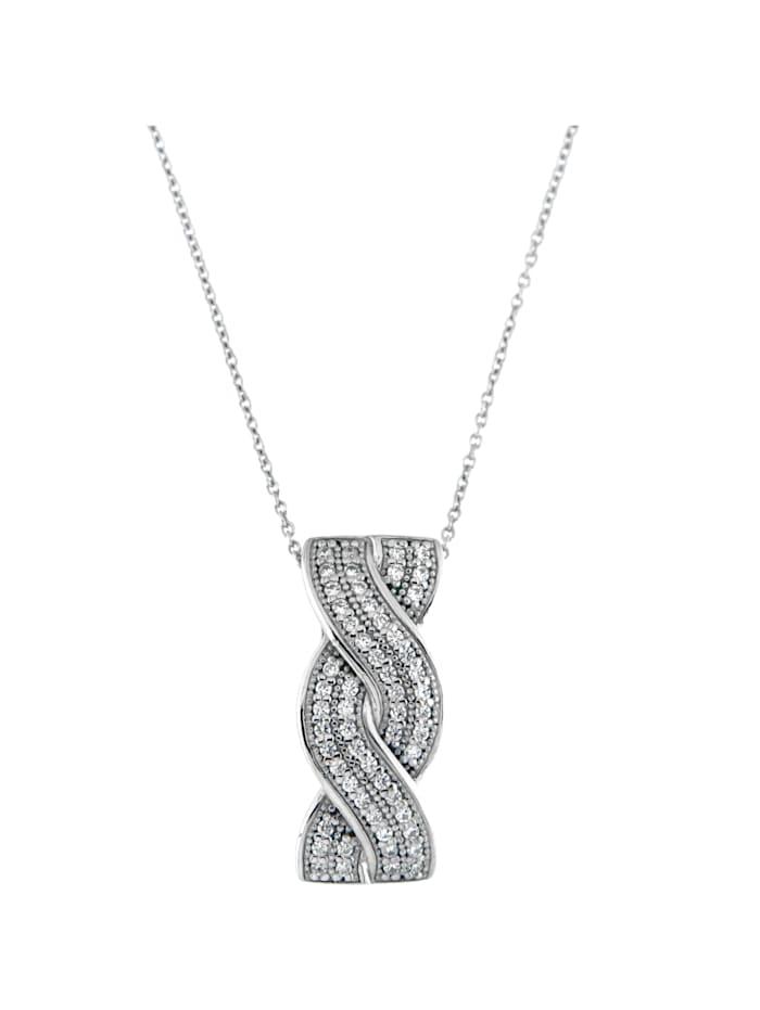 Smart Jewel Kette Anhänger verschlungen mit Zirkonia, Silber 925, Weiss