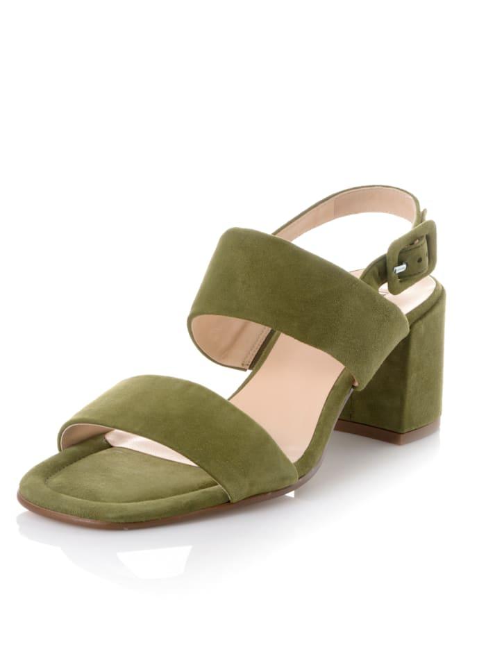 Högl Sandalette aus weichem Veloursleder, Khaki
