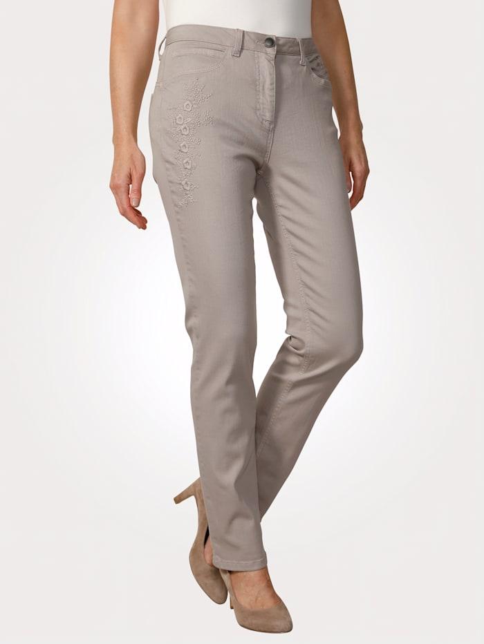 MONA Jeans mit toniger Blüten-Stickerei, Sand