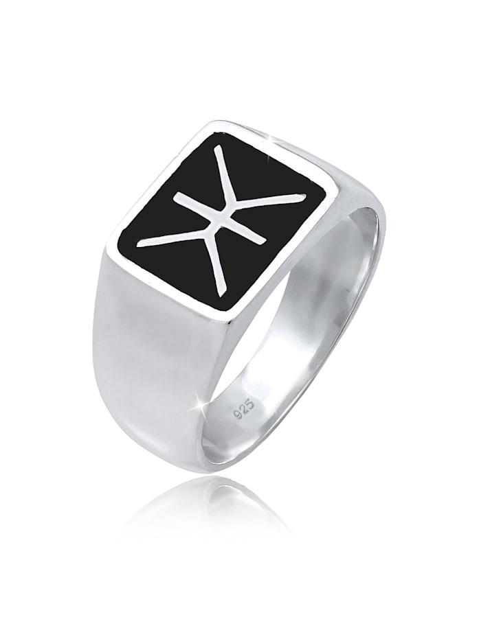 Kuzzoi Ring Herren Siegelring Emaille Logo Basic 925 Silber, Silber