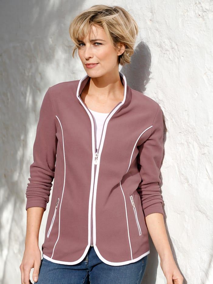 Dress In Fleece vest met contrastkleurige paspels, Oudroze/Wit
