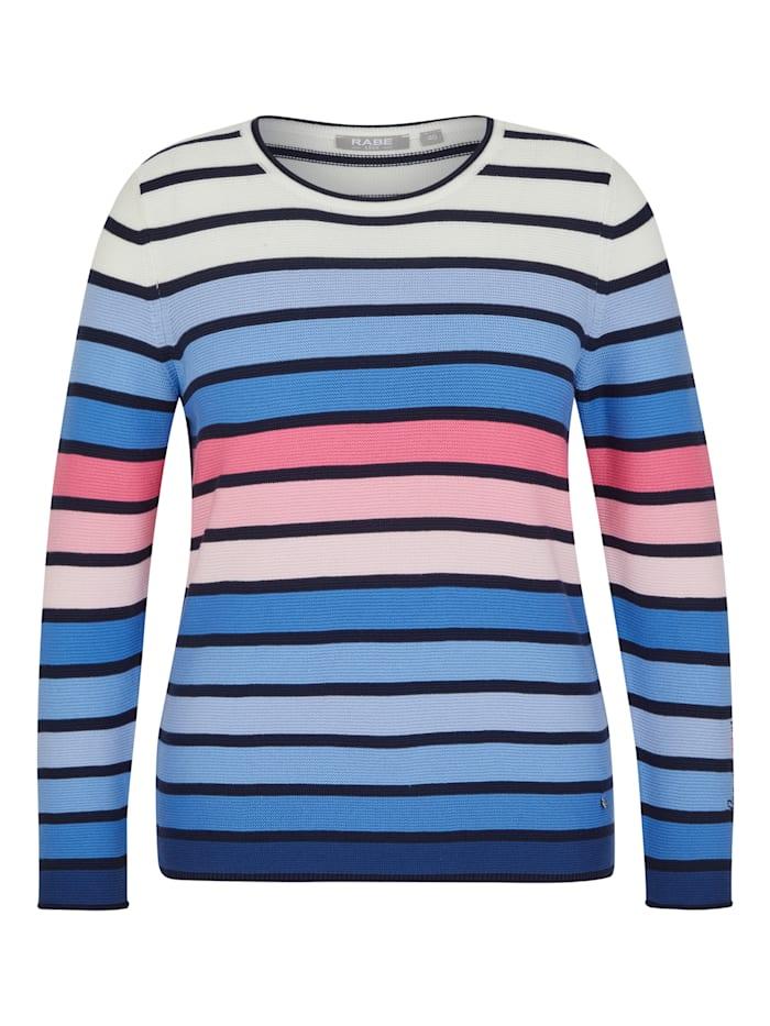 Rabe Pullover mit geringeltem Allover-Muster und langen Ärmeln, EISBLAU