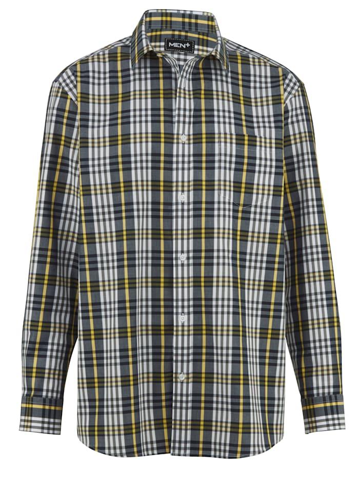 Men Plus Hemd aus reiner Baumwolle, Gelb/Grau/Marineblau