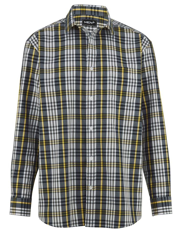 Men Plus Overhemd van zuiver katoen, Geel/Grijs/Marine