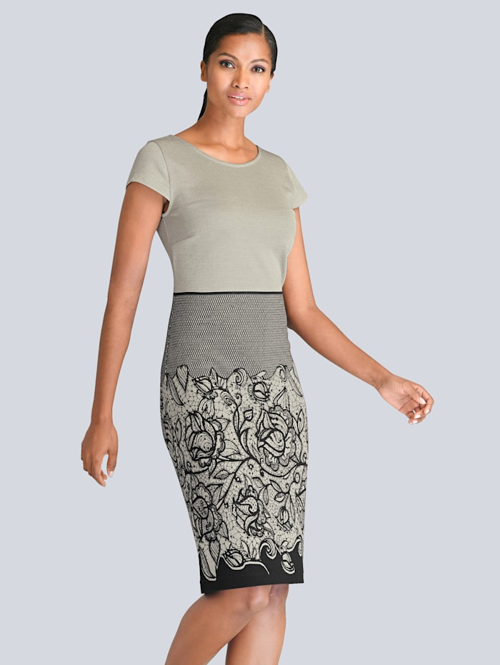 Alba Moda Kleid mit gestrickter Spitze, Grau/Schwarz