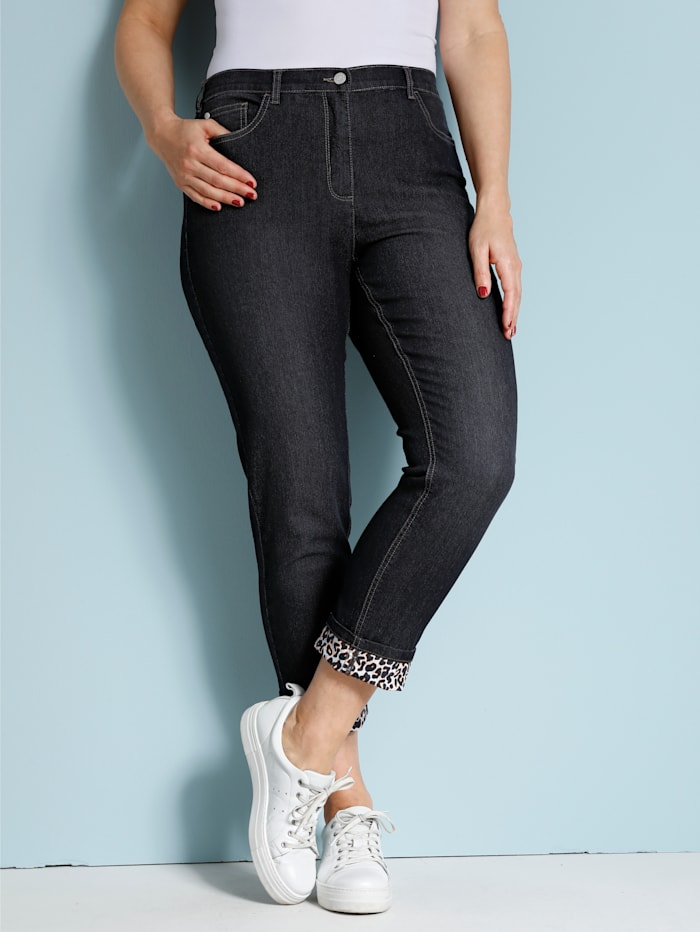 MIAMODA Jeans met omslag met animaldessin, Black stone