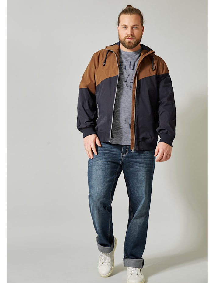Men Plus Jacke in Colour-Blocking, Marineblau/Cognac