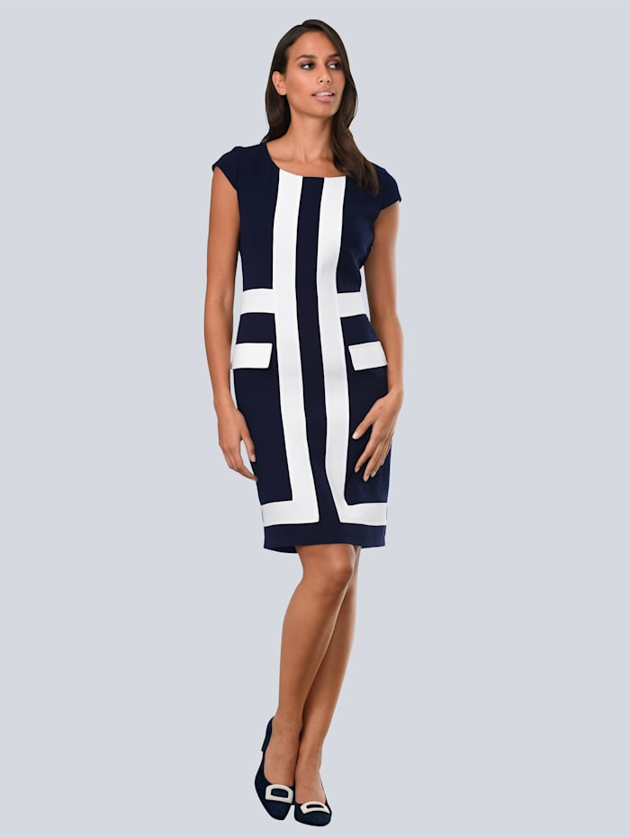 Alba Moda Kleid mit kontrastfarbenen Blenden im Vorderteil, Marineblau