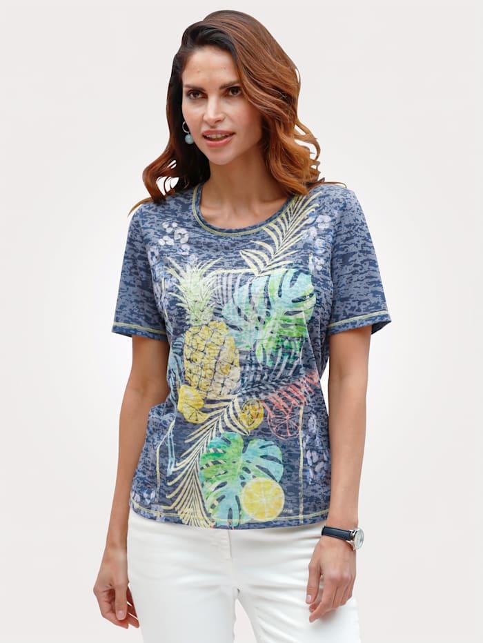 Barbara Lebek Shirt in Ausbrennerqualität, Marineblau/Gelb