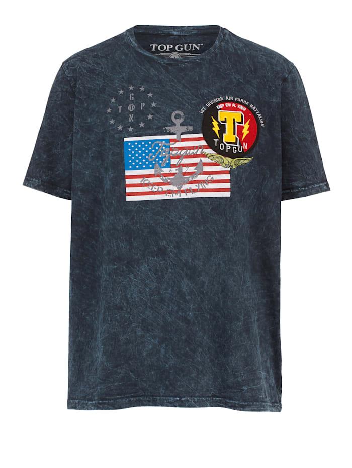 Top Gun T-paita lippupainatuksella, Musta