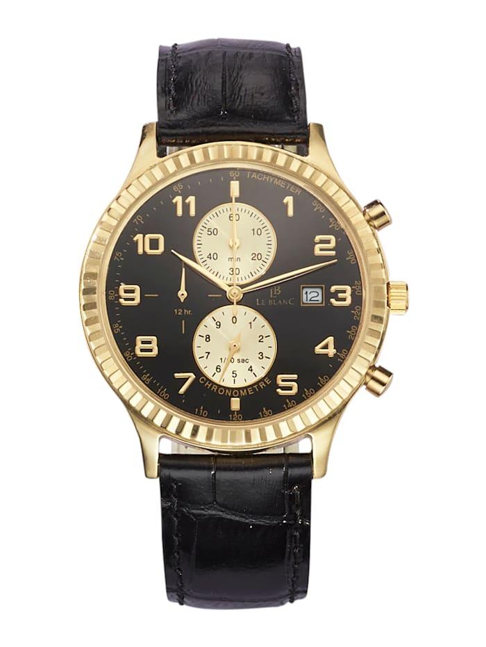 Le Blanc Chronographe homme en or jaune 585, Noir