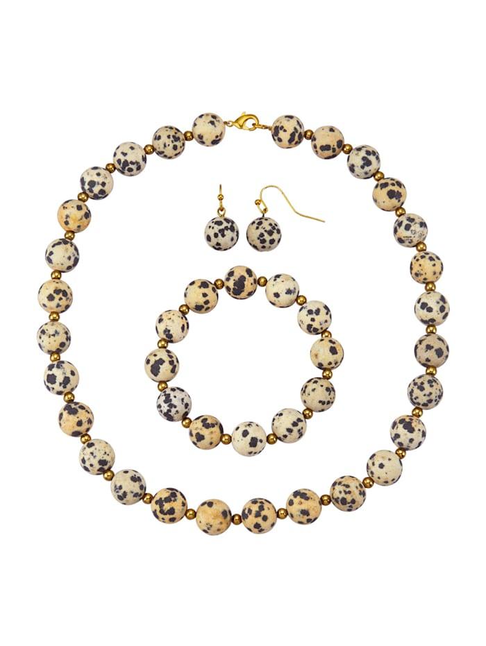 Halsband, armband & örhängen med jaspis, Brun