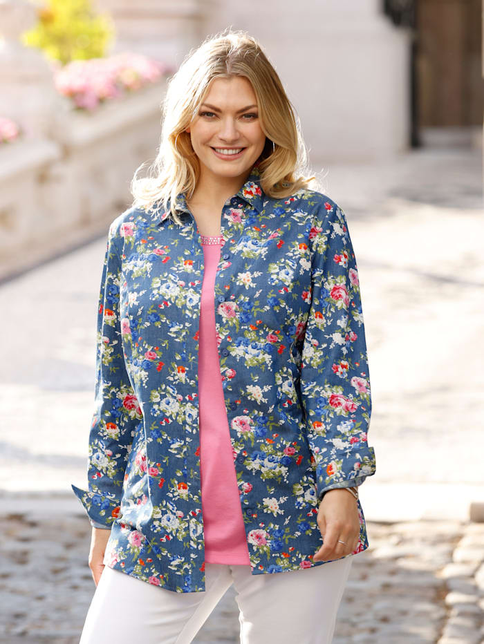 m. collection Jeansbluse in floralem Druckdesign, Blau/Pink/Multicolor