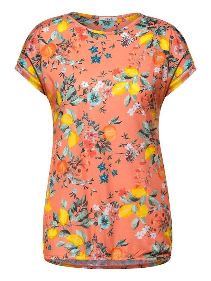 Cecil T-Shirt mit Print, fresh coral