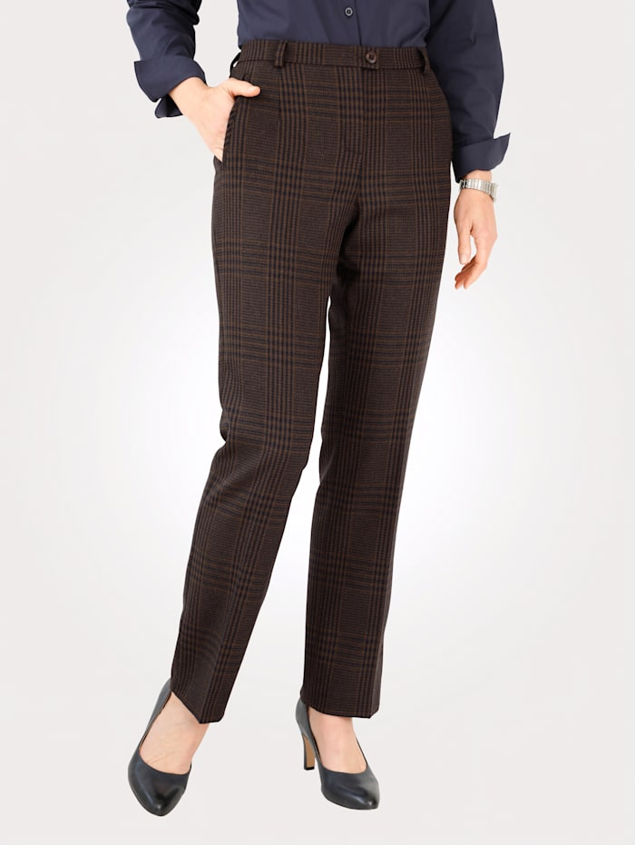 MONA Trousers in a classic houndstooth print, Navy/Brown