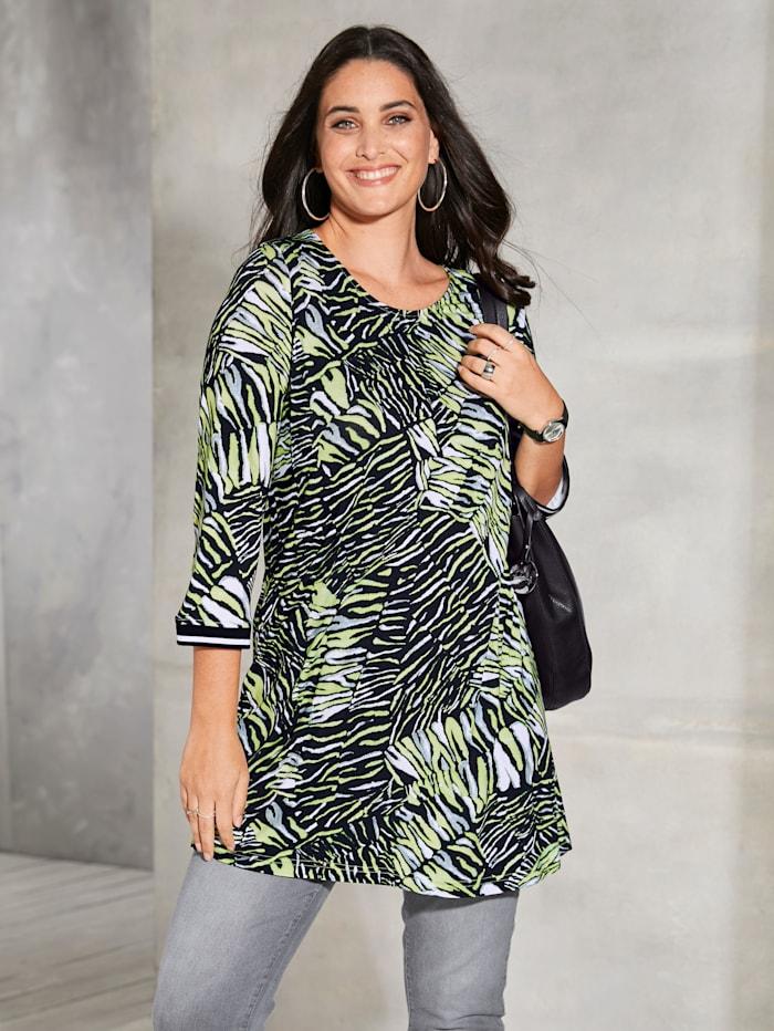 MIAMODA Longshirt met neonprint allover, Zwart/Groen