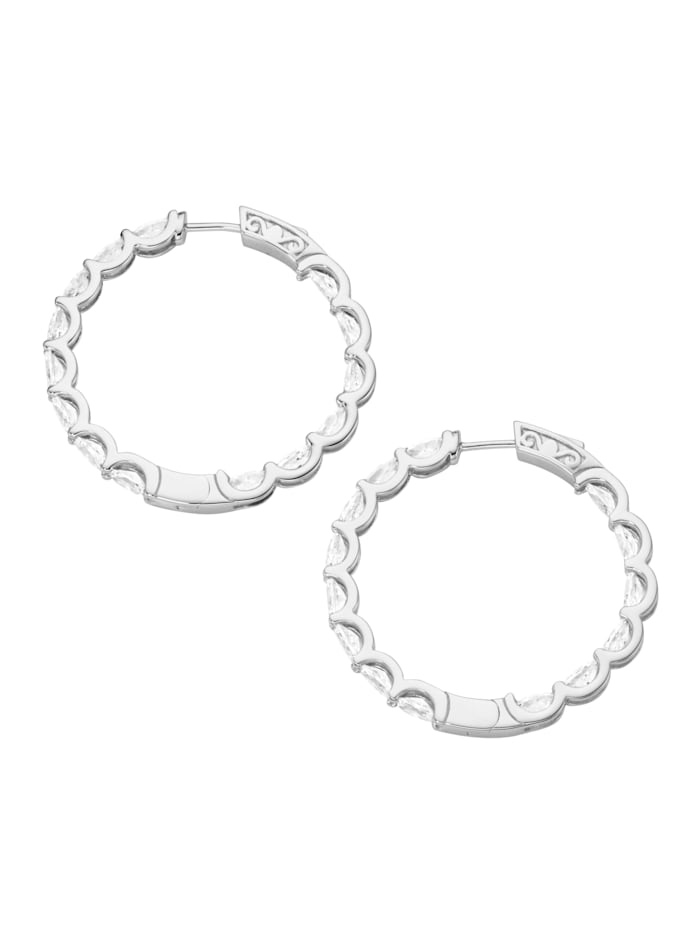 Klappcreolen mit funkelnden Zirkonia Steinen, Silber 925