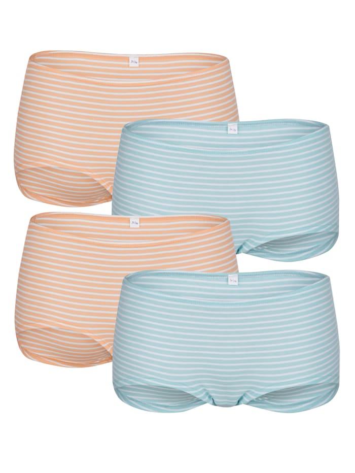 Blue Moon Pantys im 4er-Pack mit garngefärbten Streifen, Türkis/Apricot