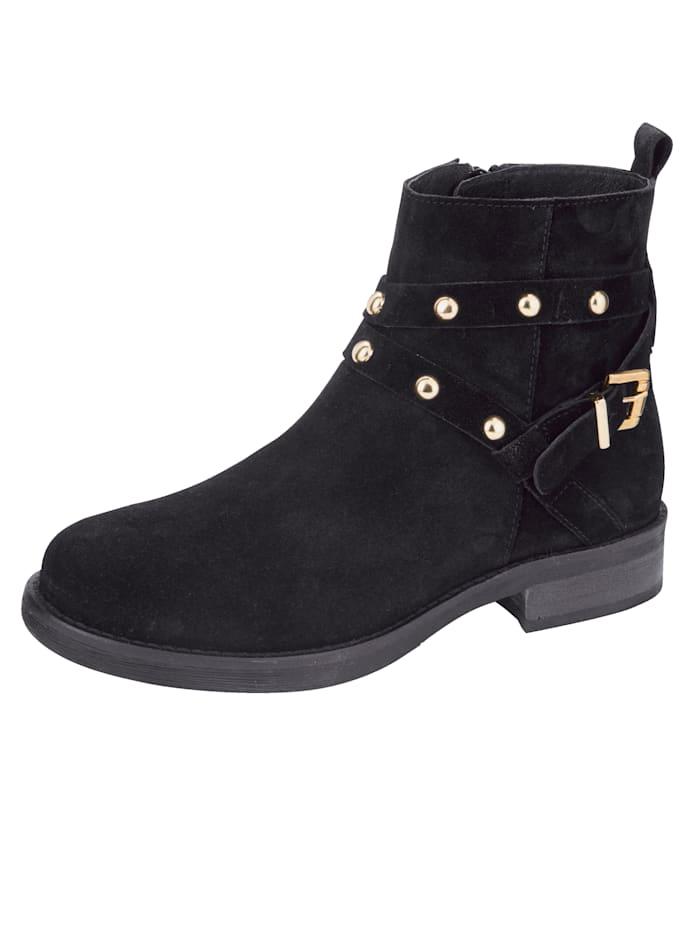 Filipe Shoes Stiefelette mit edler Schließe und Nieten, Schwarz